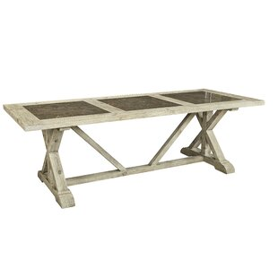 Zana Tri-Stone Solid Wood Dining Table Gracie Oaks