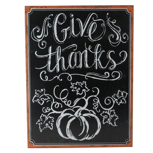 Framed Give Thanks Inscribed Wall Mounted Chalkboard