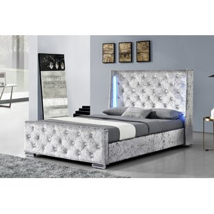 Review Kaelyn LED Lights Winged Upholstered Bed Frame