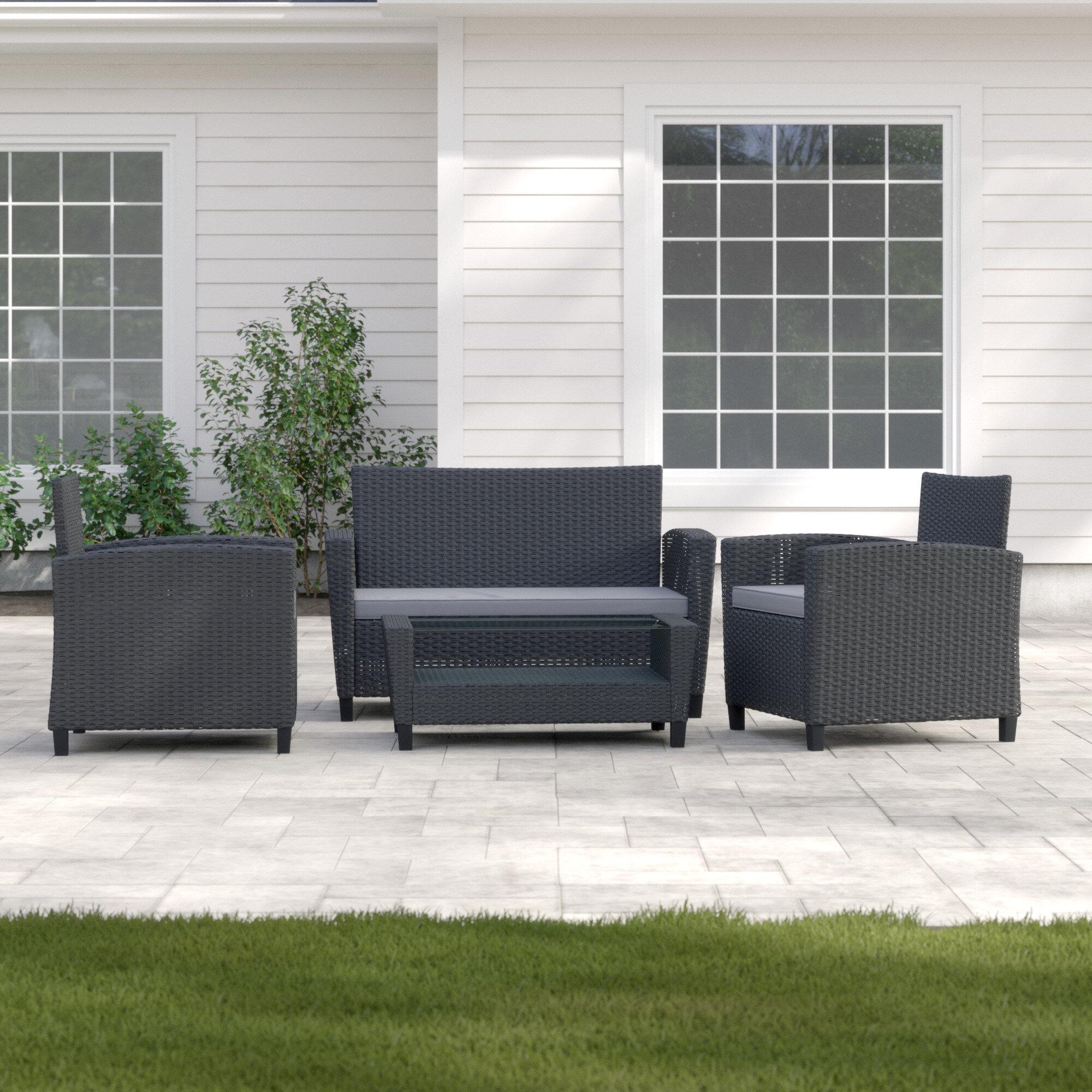 4 Piece Rattan Sofa Seating Group