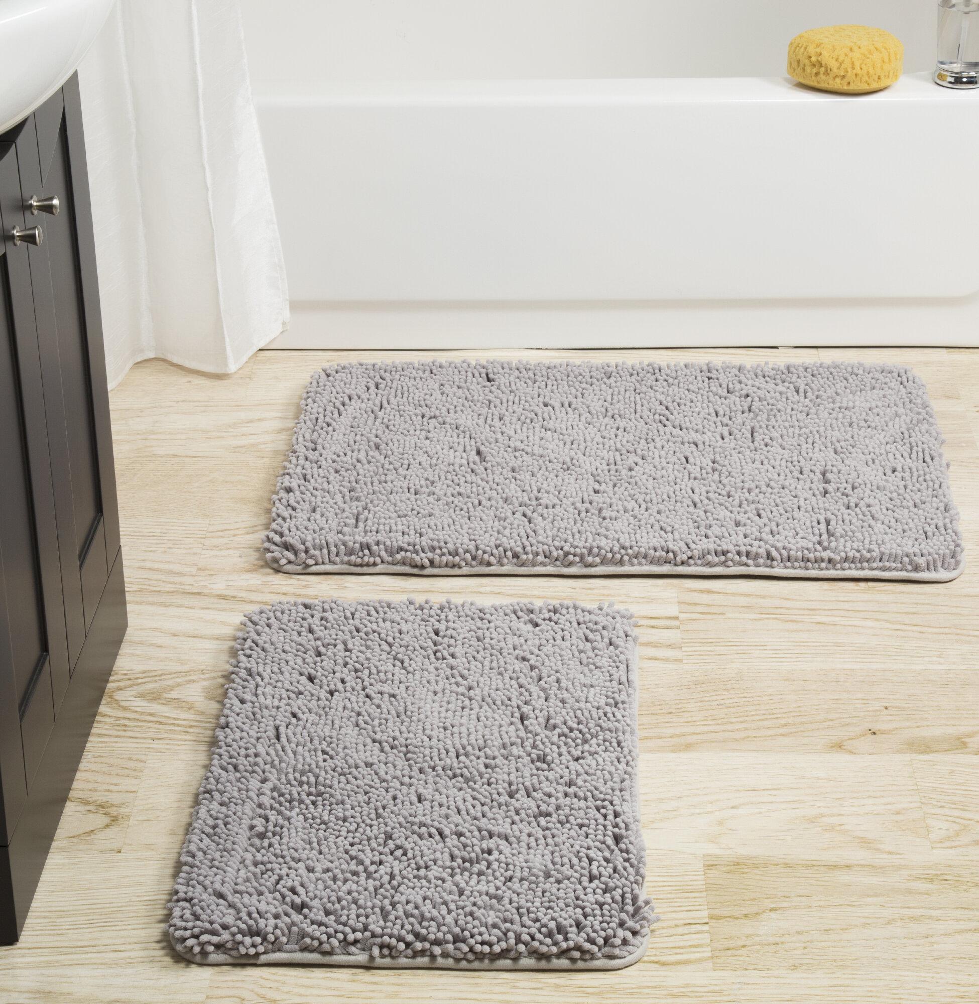 Memory Foam Rectangular Polyester Non-Slip Solid Bath Rug Set