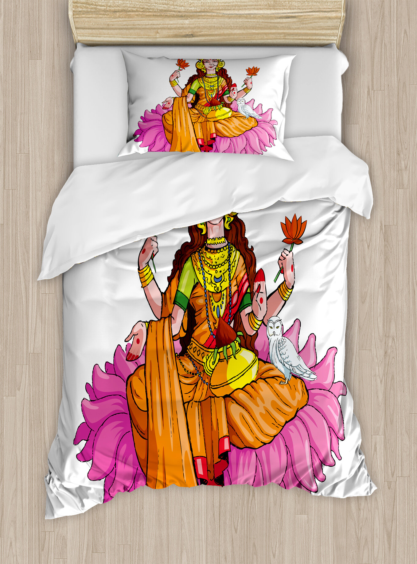 Ambesonne india goddess sitting on lotus flower mythology fortune ambesonne india goddess sitting on lotus flower mythology fortune tradition divinity culture blessing duvet set wayfair mightylinksfo