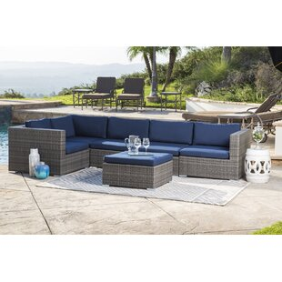 Ostrowski Outdoor Wicker Patio Sectional with Cushions by Bungalow Rose