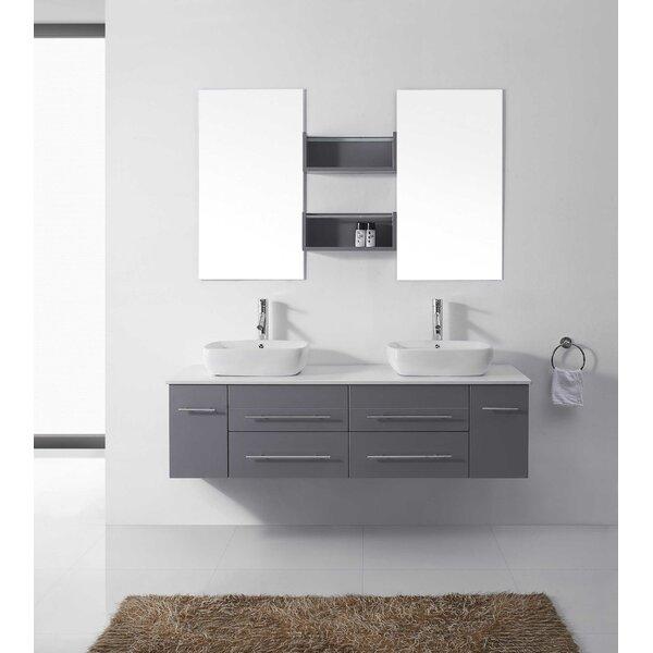 virtu usa augustine 60 double bathroom vanity set with white stone top and mirror reviews wayfair