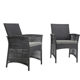 Reidsville Backyard Pool Rattan Wicker Patio Chair with Cushions (Set of 2)