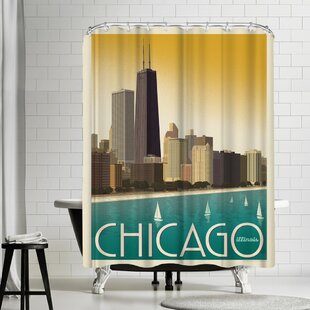 Compare Chicago Modern Skyline Shower Curtain By East Urban Home