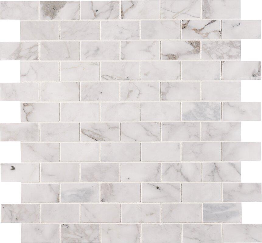 Calacatta Cressa Honed 2 X 4 Marble Subway Tile In White
