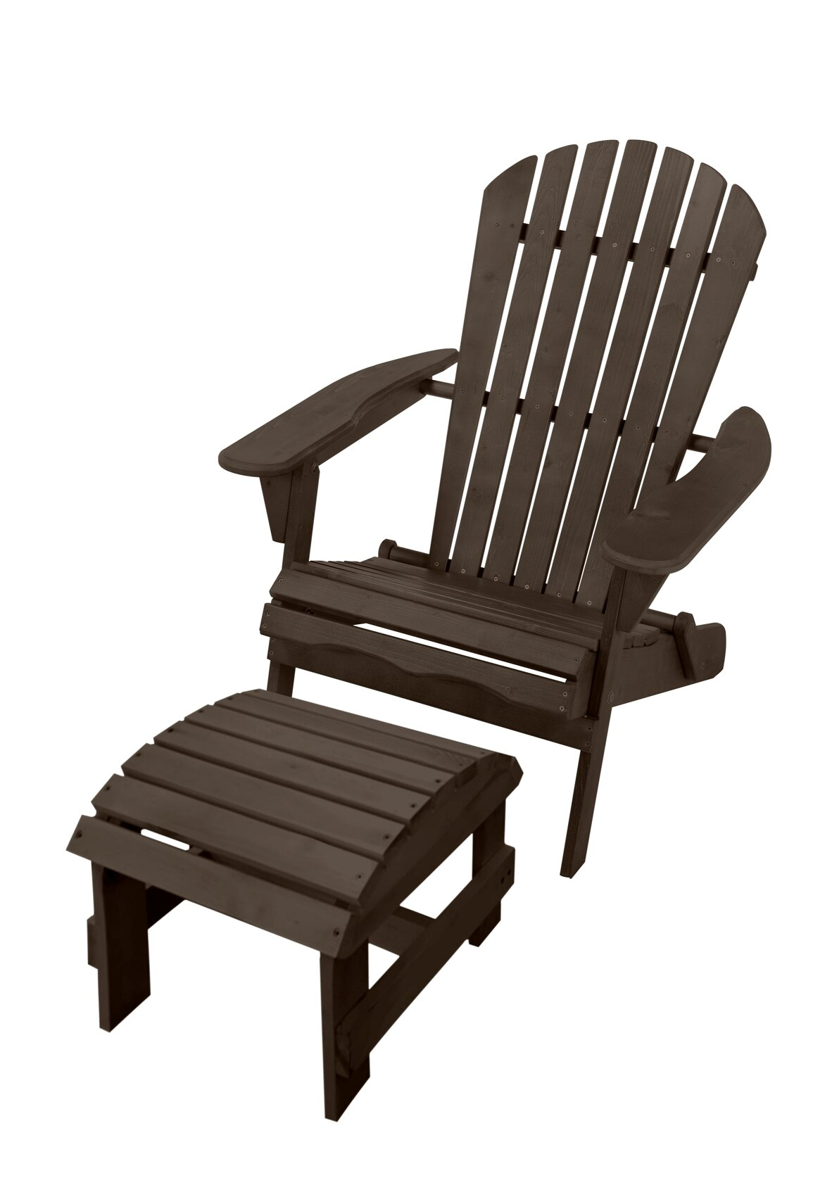 Breakwater Bay Maclachlan Solid Wood Folding Lightweight Adirondack Chair With Ottoman Wayfair
