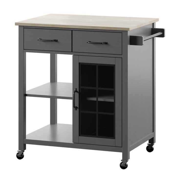 Wommack Rolling Kitchen Cart With Solid Wood Top