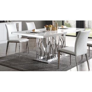 Altus Marble and Stainless Steel Dining Table Everly Quinn