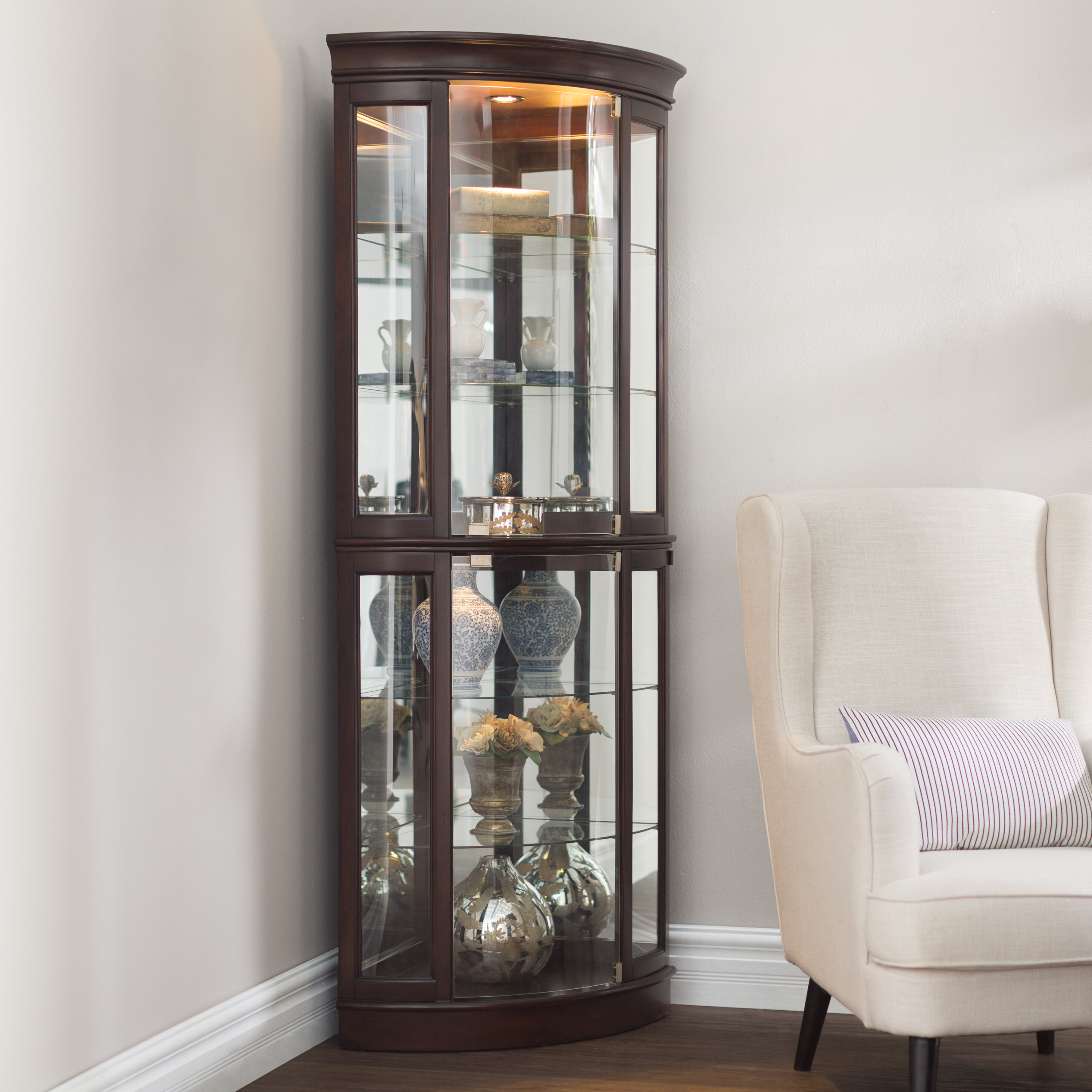 Blakeway Lighted Corner Curio Cabinet