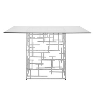 Abstract Dining Table with Glass Top Worlds Away