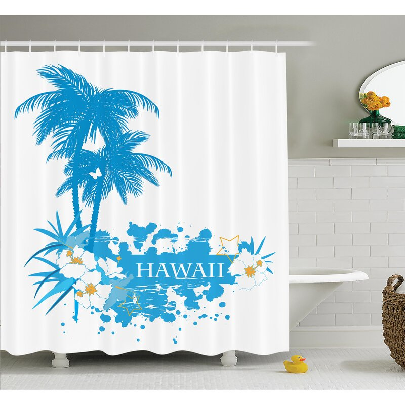 Tropical Hawaiian Island Shower Curtain Set