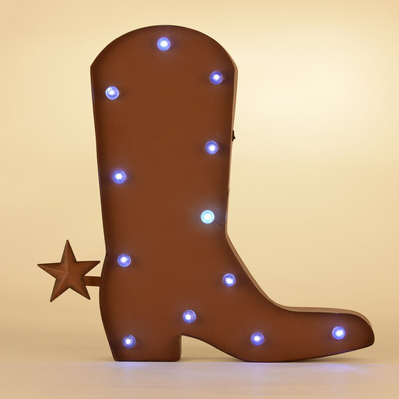 Glitzhome Rustic Marquee LED Lighted Western Cowboy Boot Sign Wall ...