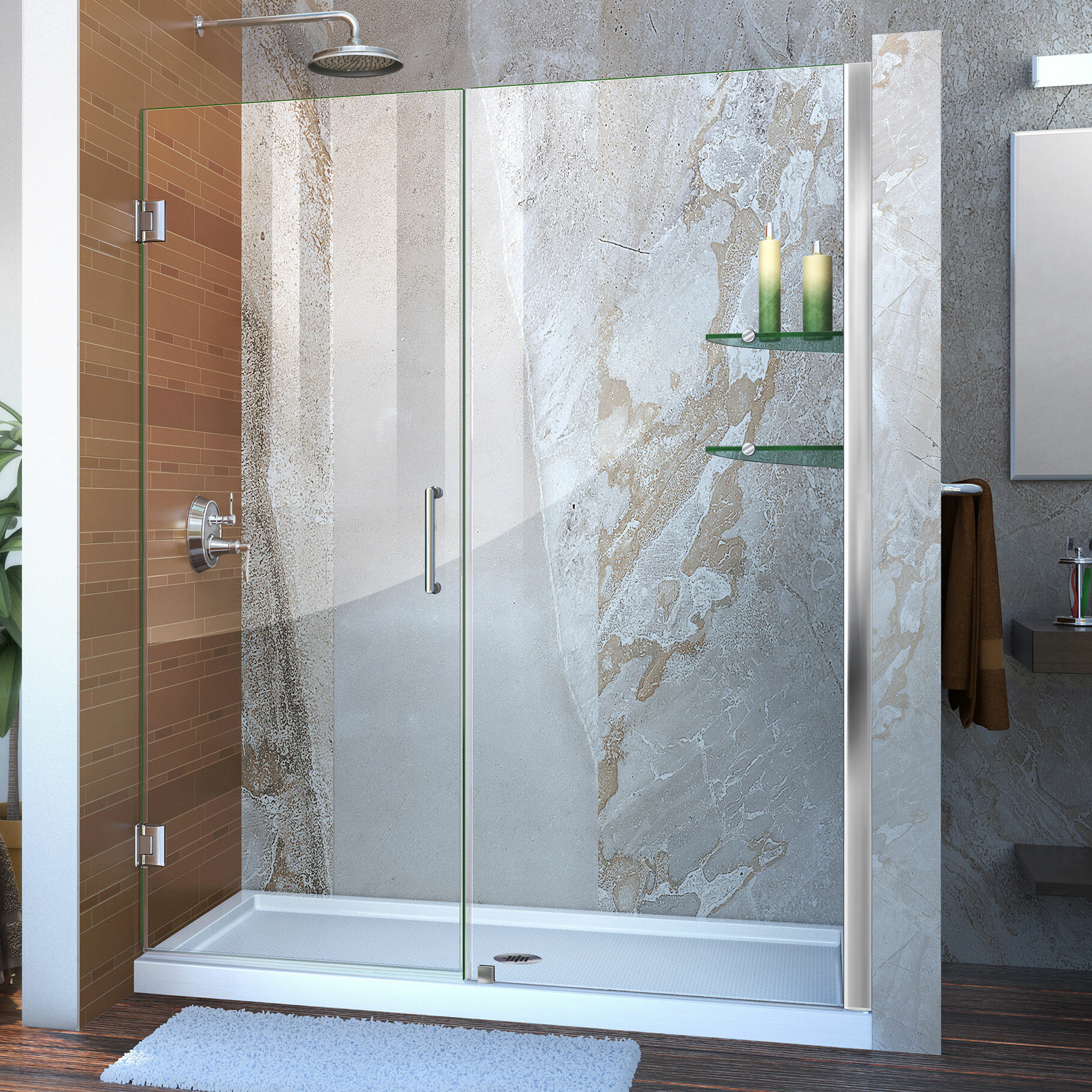 Unidoor 60 X 72 Hinged Frameless Shower Door With Clearmax Technology