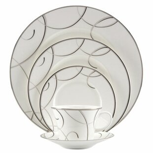 Elegant Swirl Bone China 5 Piece Place Setting, Service for 1