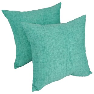 Heming Aqua Outdoor Throw Pillow (Set of 2)