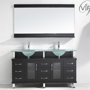Inexpensive Millette 61 Double Bathroom Vanity Set with Frosted Tempered Glass Top and Mirror ByLatitude Run