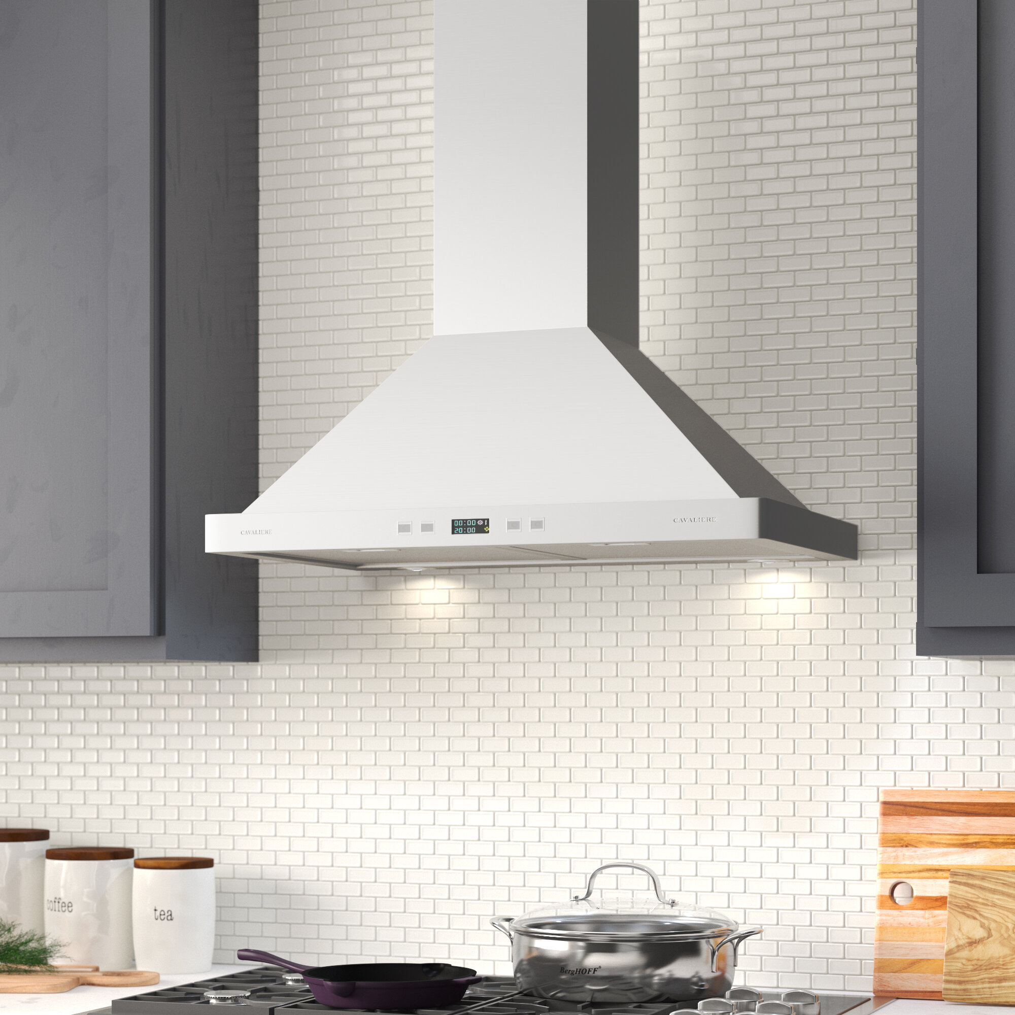 CAVALIERE 30 Wall Mounted Range Hood Brushed Stainless Steel Kitchen Vent 600 CFM With Re-circulation Kit