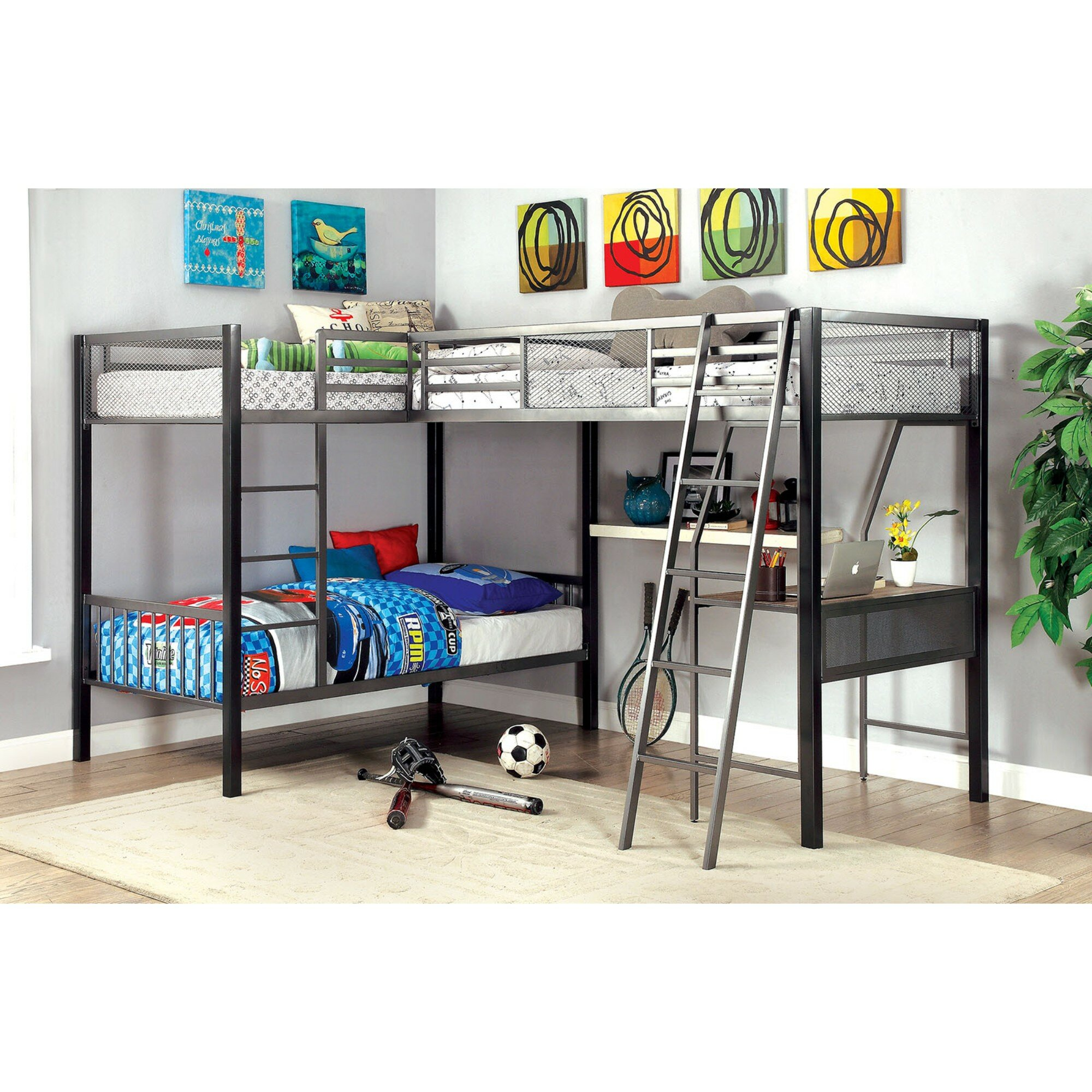 Collier Twin L Shaped Bunk Bed