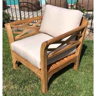 Lorenzo Outdoor Teak Club Chair and Ottoman with Cushions By Longshore Tides