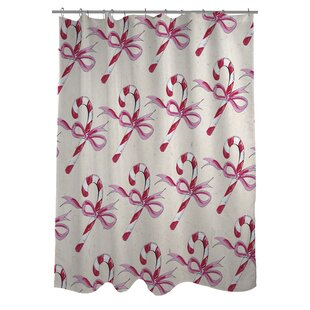 Candy Cane Bows Shower Curtain By One Bella Casa