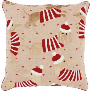 Cyrus Candy Cane Dachshund Cotton Throw Pillow