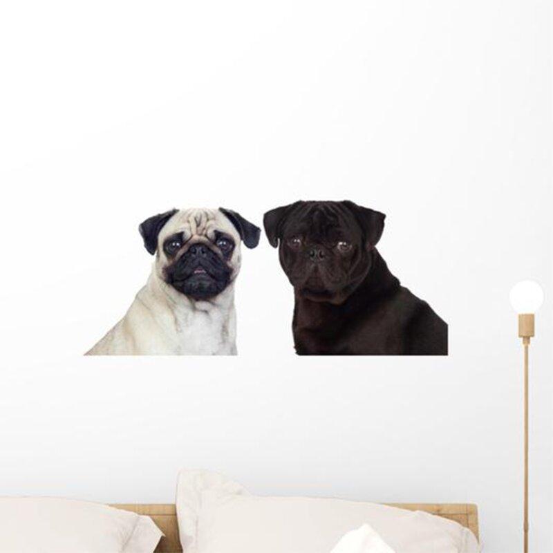Latitude Run Nice Couple Of Pug Carlino Dogs Peel And Stick Graphic Wall Decal Wayfair