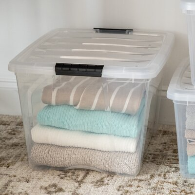 """Stack & Pull Plastic Storage Tote IRIS USA, Inc. Pack Size (Buy More, Save More!): 1 Bin, Size: 10.5"""""""" H x 14.38"""""""" W x 18.75"""""""" L, Capacity: 32 QTS -  150210"""