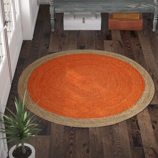Cayla Fiber Hand-Woven Orange Area Rug by Beachcrest Home