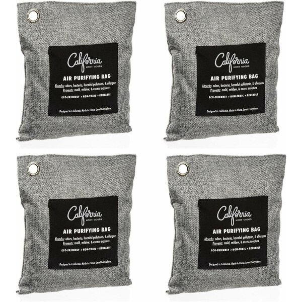 Fridge and Car Shoes Naturally Freshen Your Rooms Lunch Box The Good Stuff Bamboo Charcoal Air Purifying Bag: 4 Pack Charcoal Shoe Deodorizer Bags Bamboo Charcoal Bags Odor Absorber