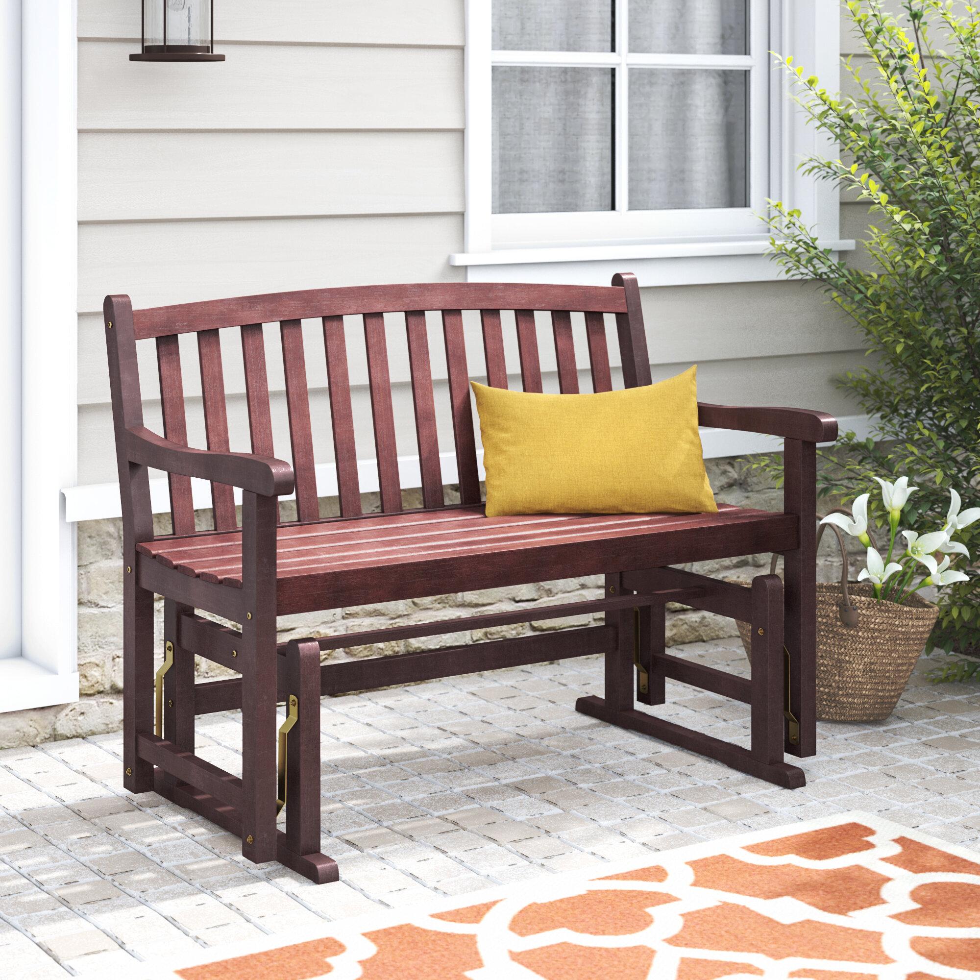 Picture of: Charlton Home Worcester Glider Wood Garden Bench Reviews Wayfair