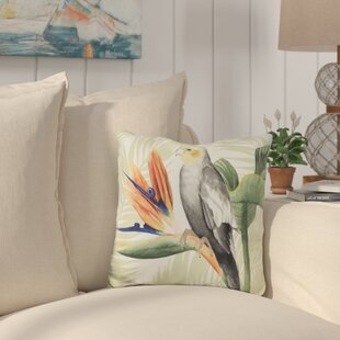 Saxon Avian Paradise Throw Pillow by Bay Isle Home 2019 Sale
