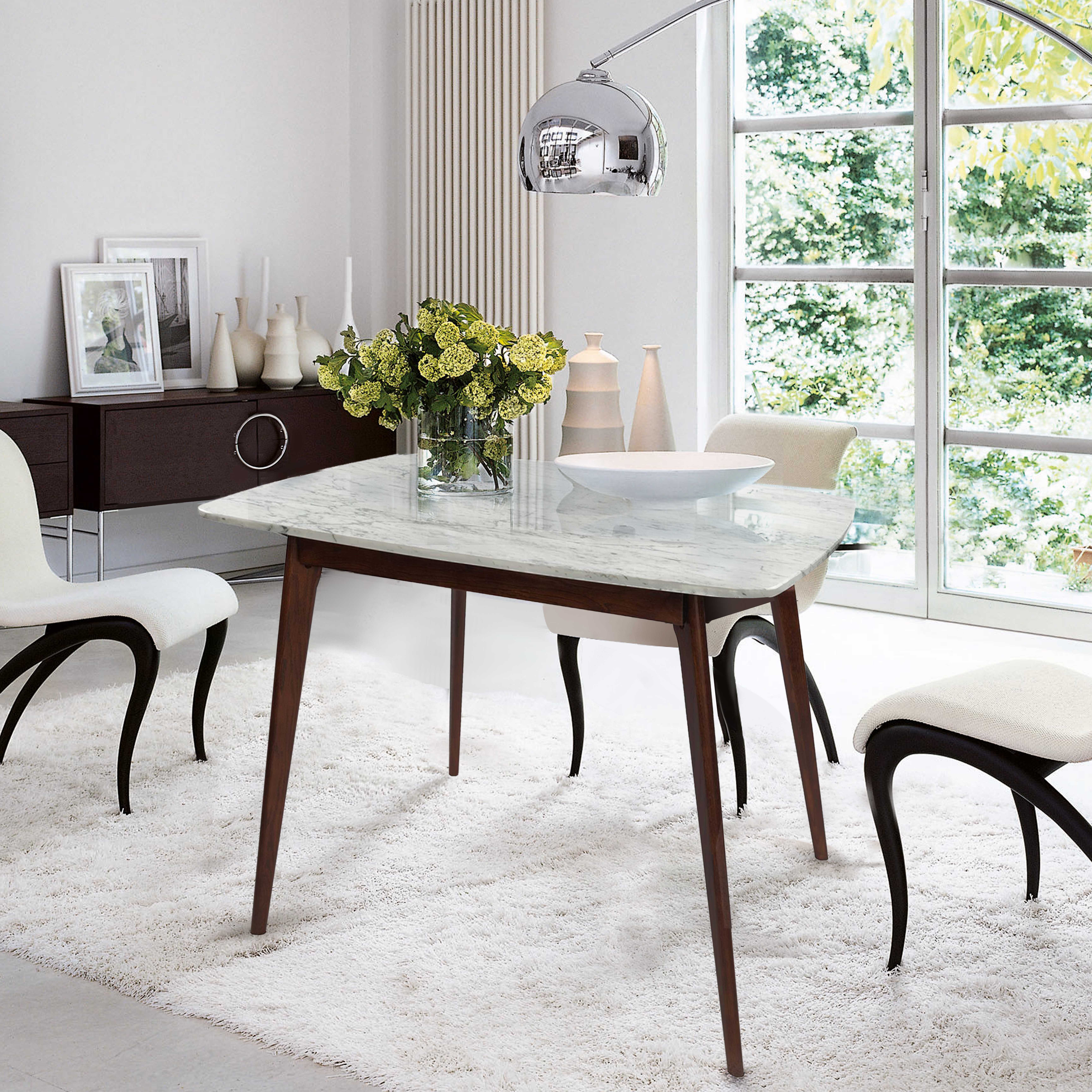 Ivy Bronx Huldah 39 Square Italian Carrara White Marble Dining Table Wayfair