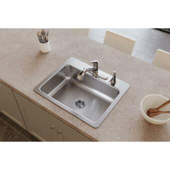 Akdy 25 L X 22 W Drop In Kitchen Sink With Basket Strainer Reviews Wayfair