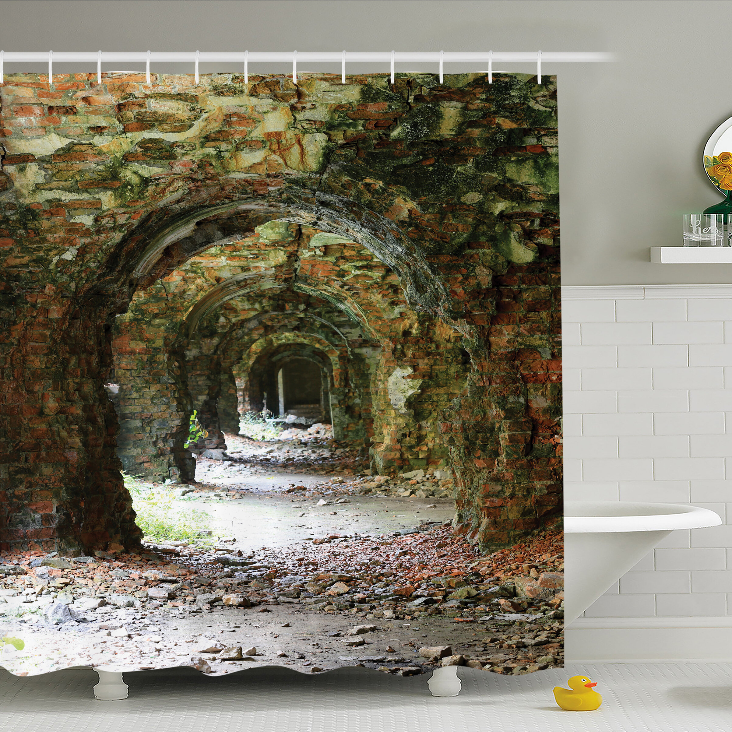 Ambesonne Rustic Home Ruins Of Arched Medieval Period Brick Tunnel Architecture Heritage Design Shower Curtain Set
