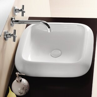 Best Review Ceramica II Ceramic Square Vessel Bathroom Sink By Caracalla