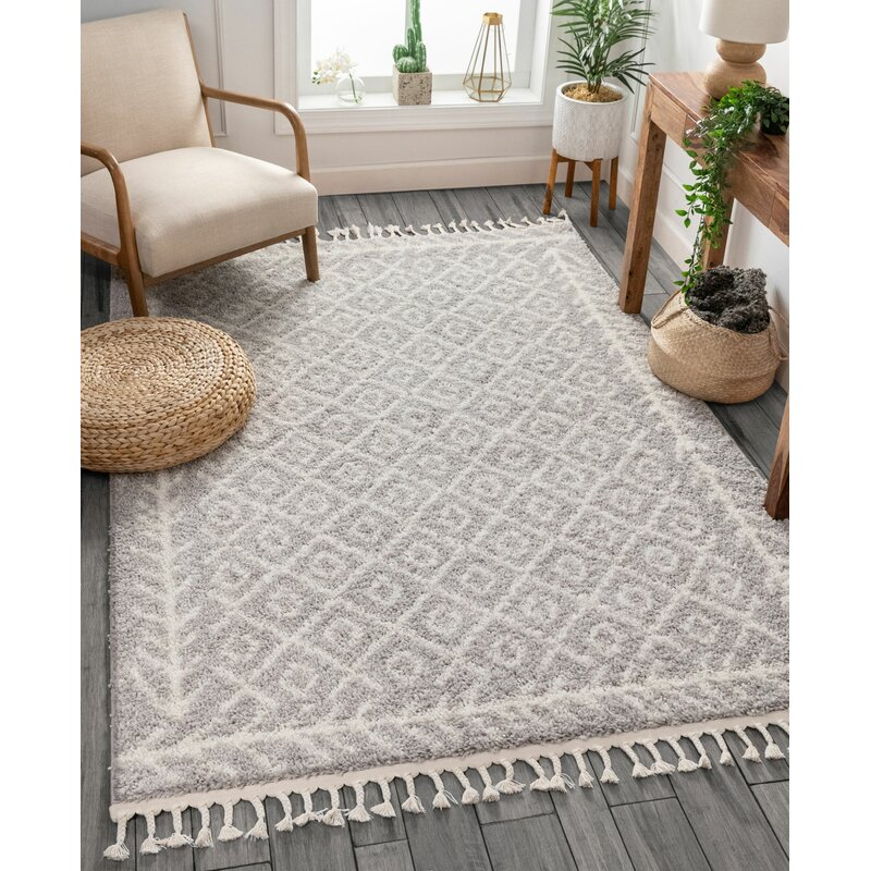 Well Woven Cabana Geometric Gray White Area Rug Reviews Wayfair