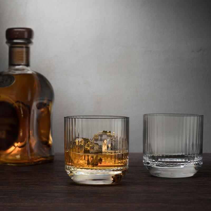 blue Big Fun 8oz Whiskey Vodka Crystal Glass