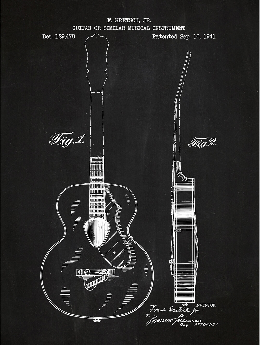 Inked And Screened Music Audio Gretsch Guitar 1941 Silk Screen Print Graphic Art In Chalkboard White Ink