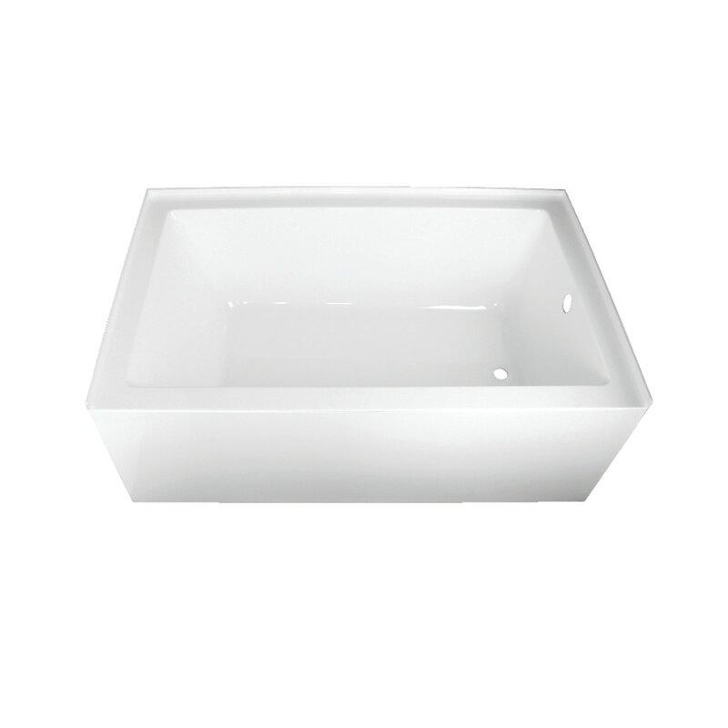 "kingston brass acrylic 60"" x 36"" alcove soaking bathtub & reviews"