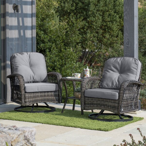 Bay Isle Home Pelletier 3 Piece Rattan Seating Group With Cushion Reviews Wayfair Ca