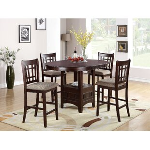Doster 5 Piece Counter Height Extendable Solid Wood Dining Set