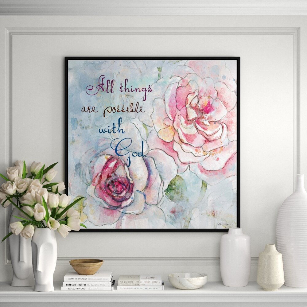 Jbass Grand Gallery Collection Scripture Flowers Ii Floater Frame Textual Art Print On Canvas Perigold