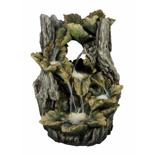 Hi-Line Gift Ltd. Resin Leaves in Tree Trunk Fountain with Light