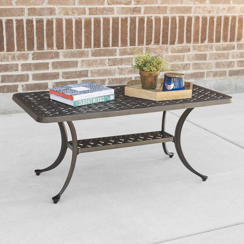 Cast Aluminum Wicker Style Patio Coffee Table
