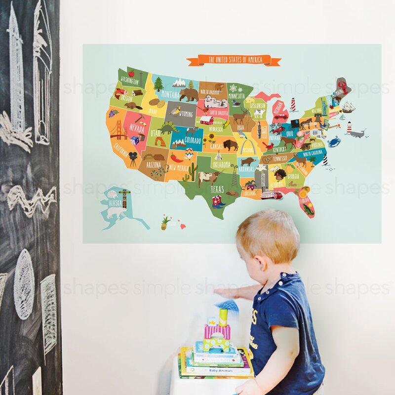 SimpleShapes USA Map Poster Wall Decal   Wayfair