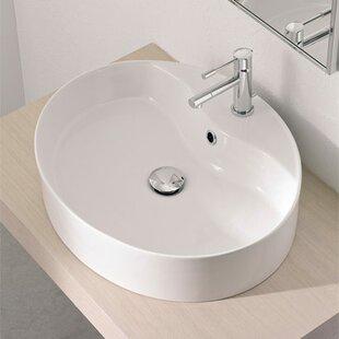 Low priced Wind Ceramic Oval Vessel Bathroom Sink with Overflow ByScarabeo by Nameeks