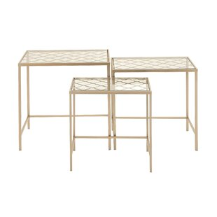 Glass nesting tables youll love wayfair metalglass 3 piece nesting tables watchthetrailerfo