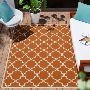 Alford Geometric Orange/Ivory Indoor/Outdoor Area Rug